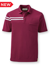 Eco Short-Sleeve Half-Stripe Polo