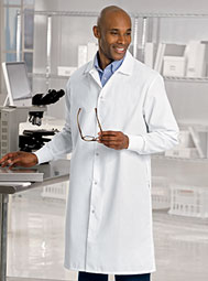ARAMARK knit-cuff poplin lab coat