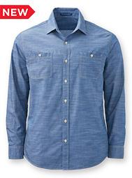 Mens Long Sleeve Slub Chambray Shirt